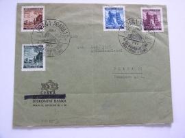 Dopis s výplatními známkami.